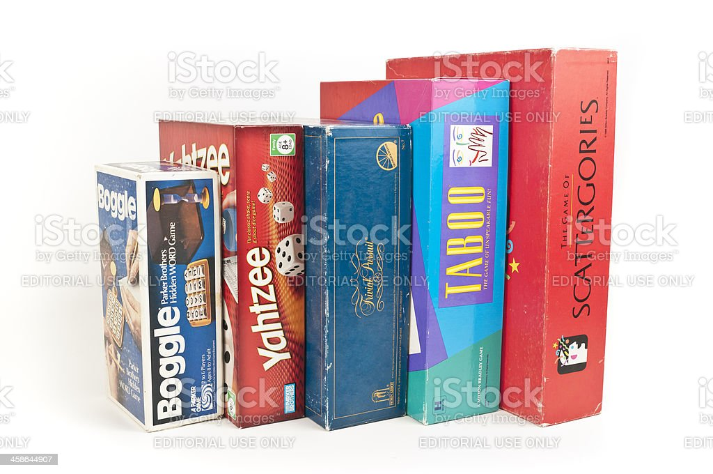 Board Game Boxes: Boggle, Yahtzee, Trivial Pursuit, Taboo, Scattergories stock photo
