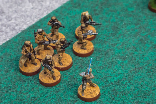 Board Game Strategy group to Play On Green Grass Turf in Hobby Concept stock photo