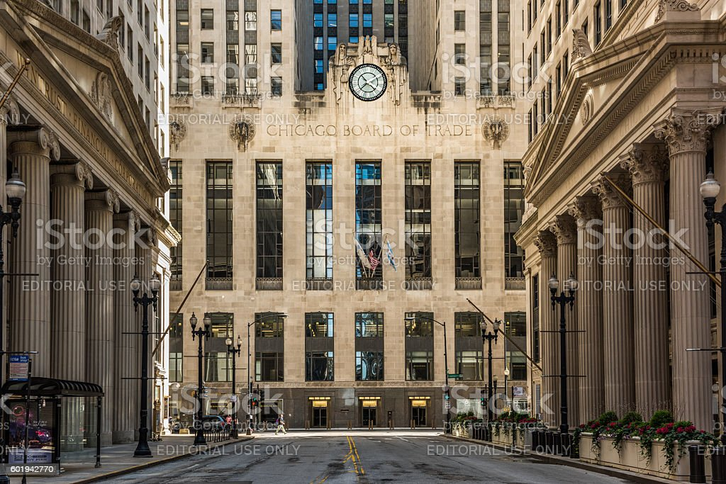 Board of Trade along La Salle street in Illinois stock photo