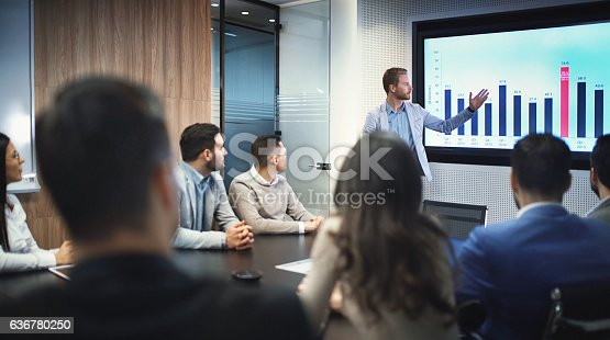 Closeup of group of business people in a meeting seated around squared office desk. Several people are seated around conference table and team leader is having a presentation in front of a projection screen. He's showing annual profit charts ending with 2016 result.
