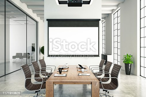 istock Board Room with Blank Projection Screen 1171910625
