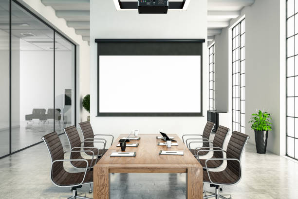 Board Room with Blank Projection Screen Board Room with Blank Projection Screen board room stock pictures, royalty-free photos & images