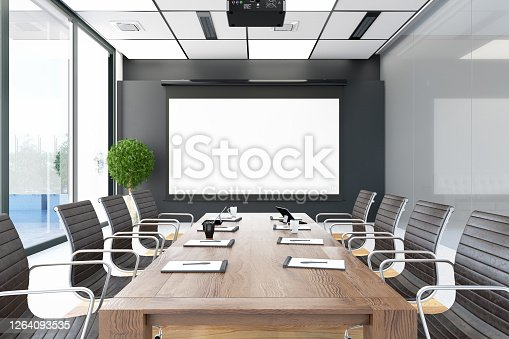 Modern Board Room with empty Screen. 3d Render