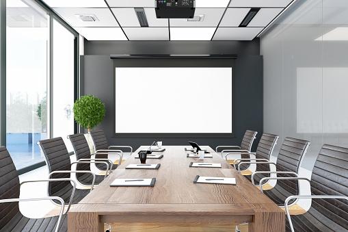 Modern Board Room with empty Screen. 3d Render