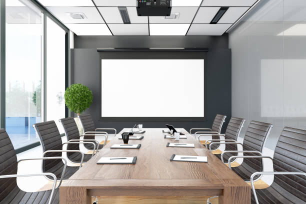 Board Room with Empty Screen stock photo