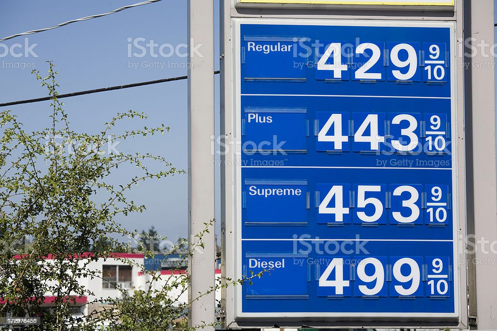 Board showing sky high gas prices stock photo