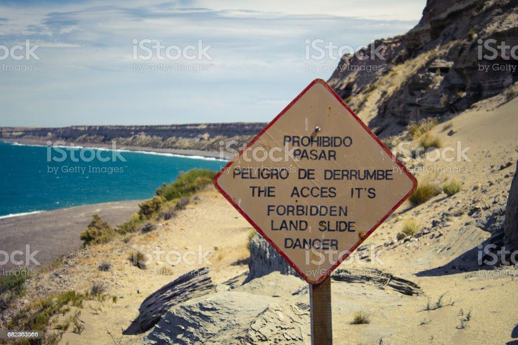 Bestuur: De toegang is verboden land dia gevaar in Patagonië. royalty free stockfoto