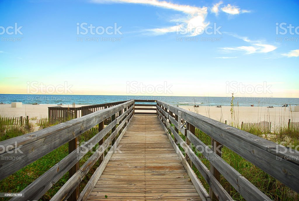 Board walk on the beach in Orange Beach, Alabama stock photo