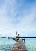 Board walk along the coastline of Thailand.