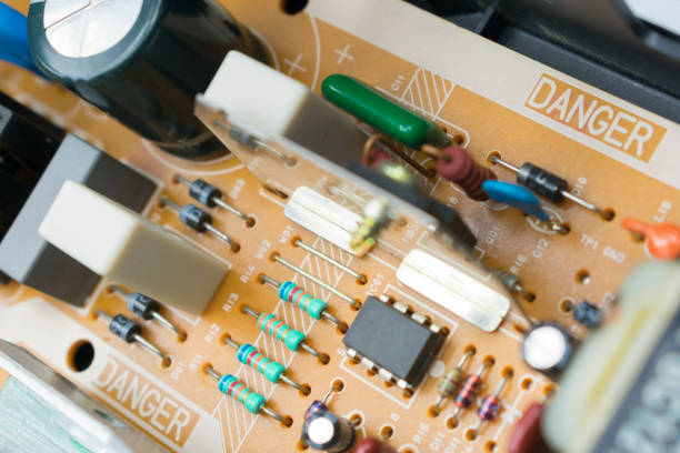board with radio components stock photo