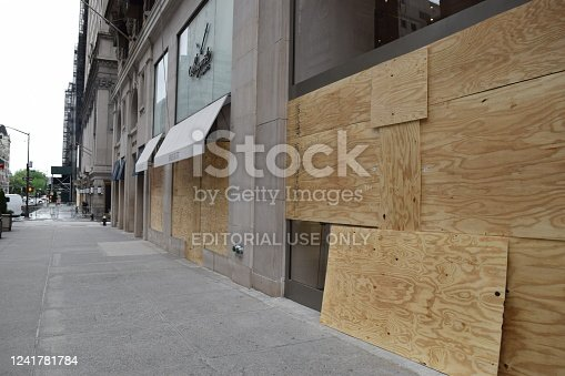 Shops on Fifth Avenue Between 56th Street and 50th Street, Boarded Up