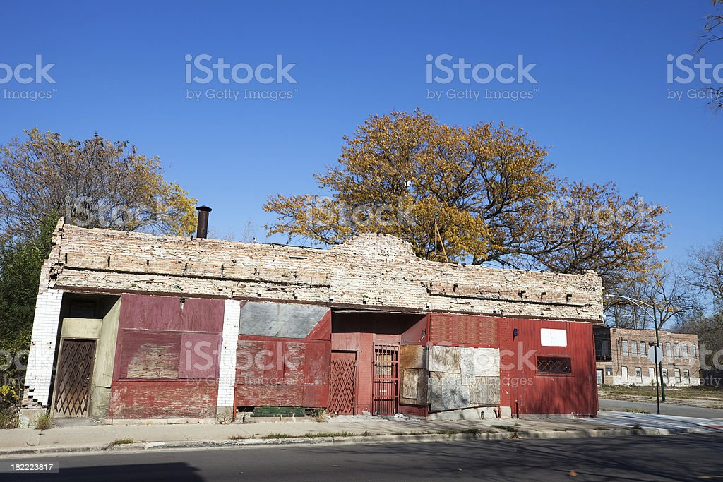 Boarded Up Chicago Neighborhood Shops royalty-free stock photo