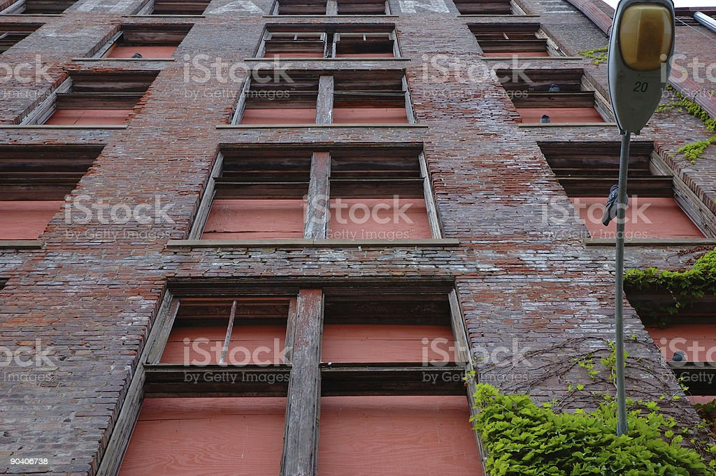Boarded up Derelict Building stock photo