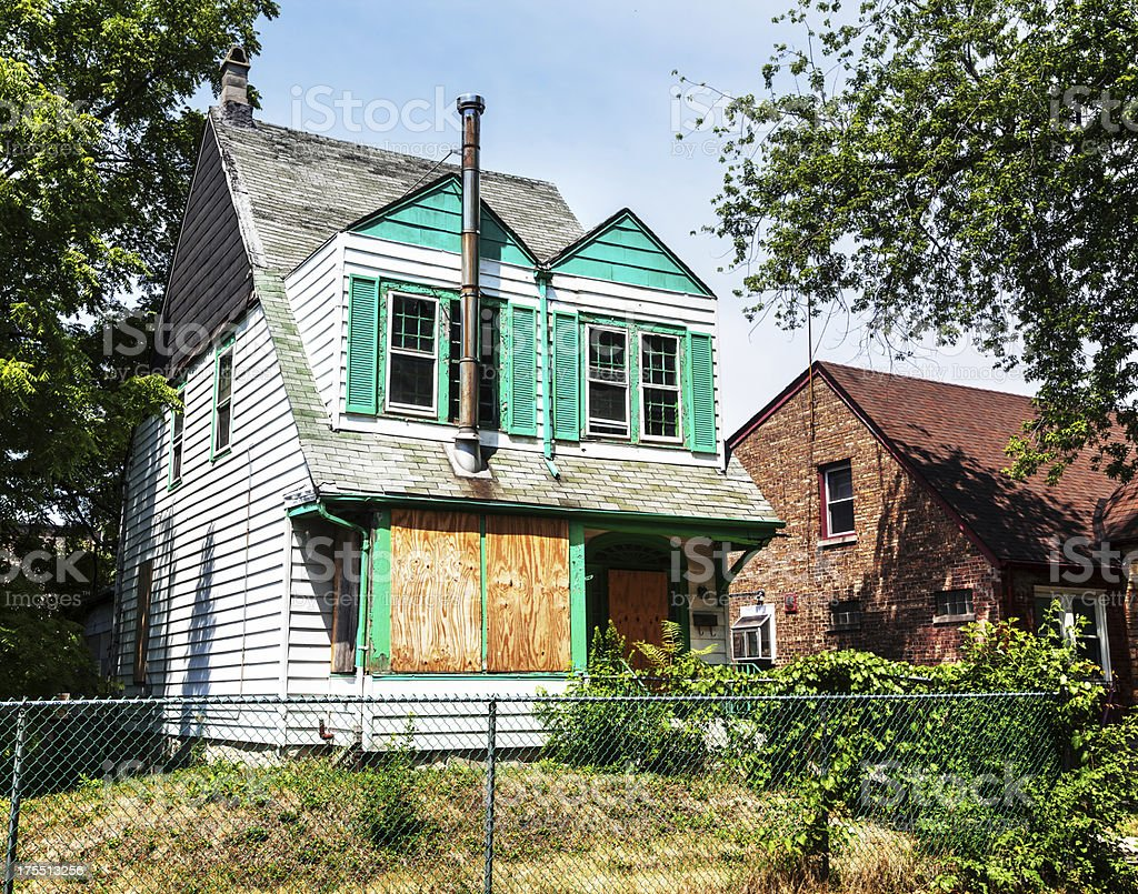 Boarded up house in Washington Heights, a Chicago stock photo