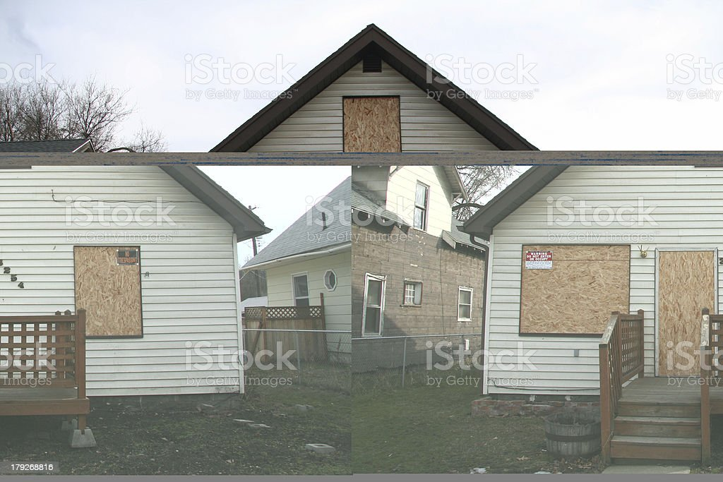 Boarded up House stock photo
