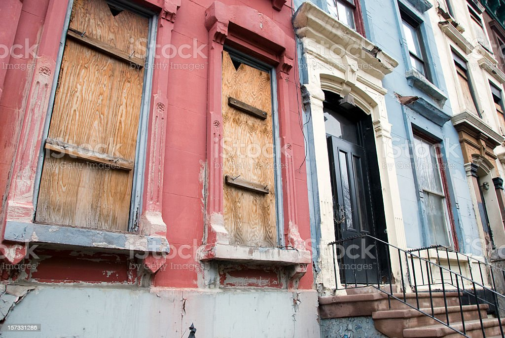 Boarded Up Houses royalty-free stock photo