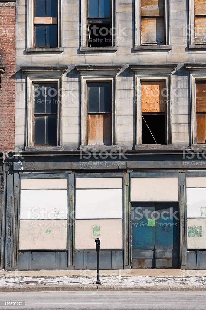 Boarded Up Store Front, Business Abandoned and Closed royalty-free stock photo