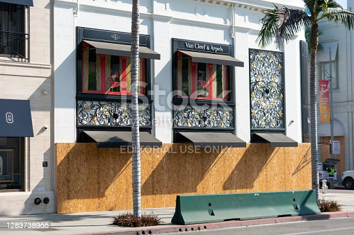Boarded up stores along Rodeo Drive shopping district amid fears of potential unrest following Presidential election - Beverly Hills, California, USA - November 2, 2020