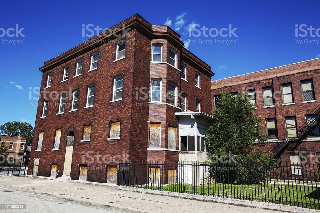 Boarded up Victorian apartment building, Fuller Park, Chicago royalty-free stock photo