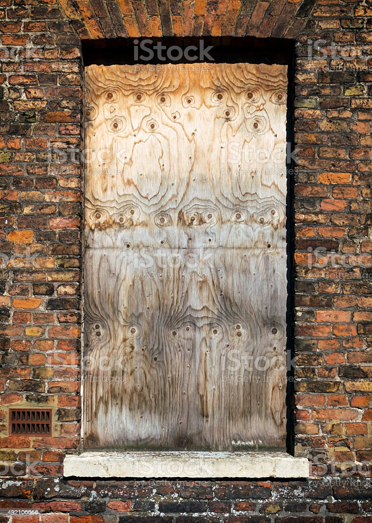 Boarded up window stock photo