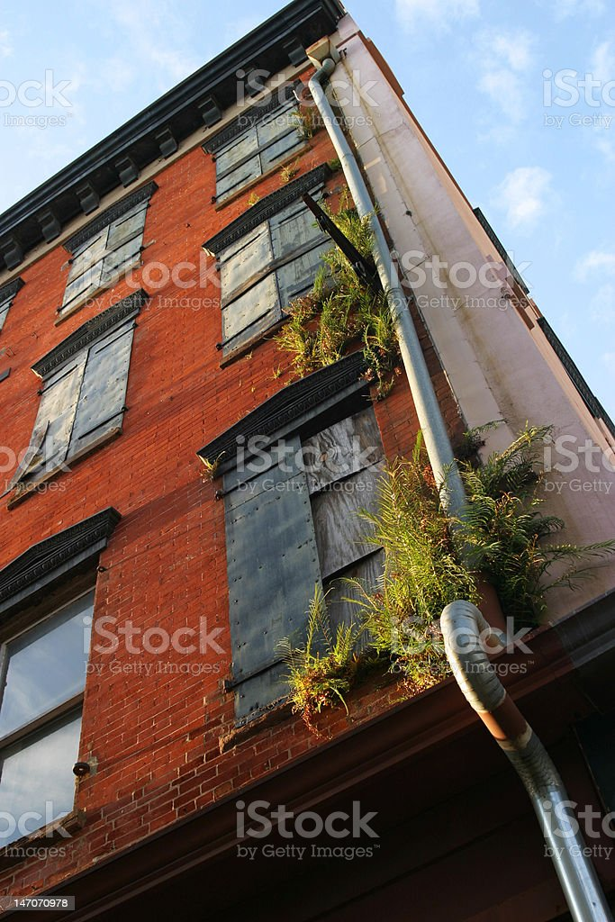 Boarded Up Windows on Main Street royalty-free stock photo