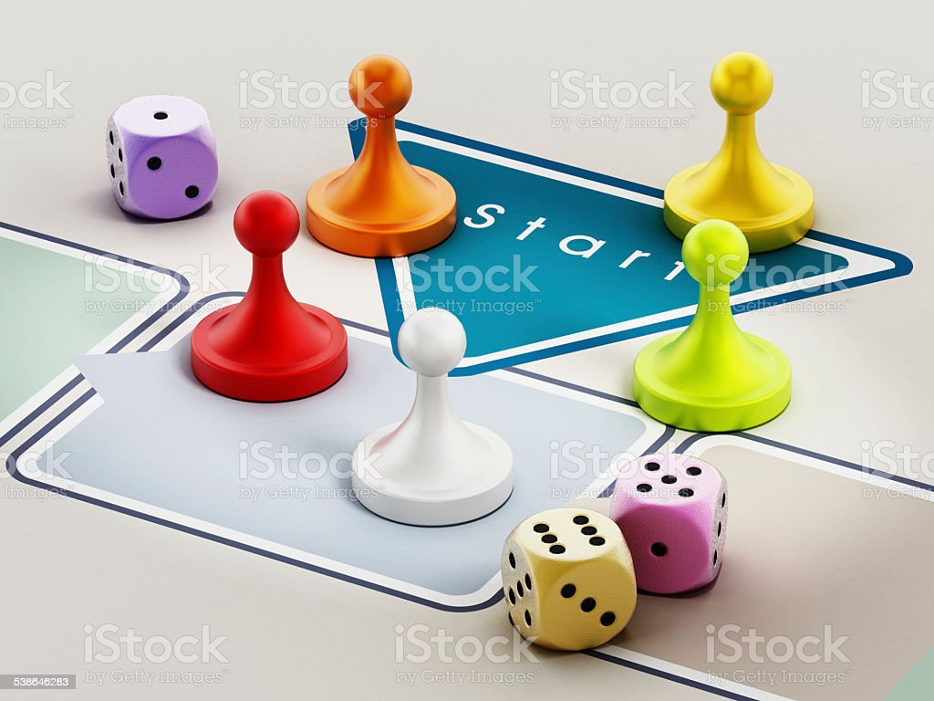 Boardgame pieces stock photo