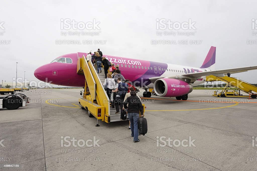 Boarding a Wizz Air airplane at Eindhoven airport royalty-free stock photo