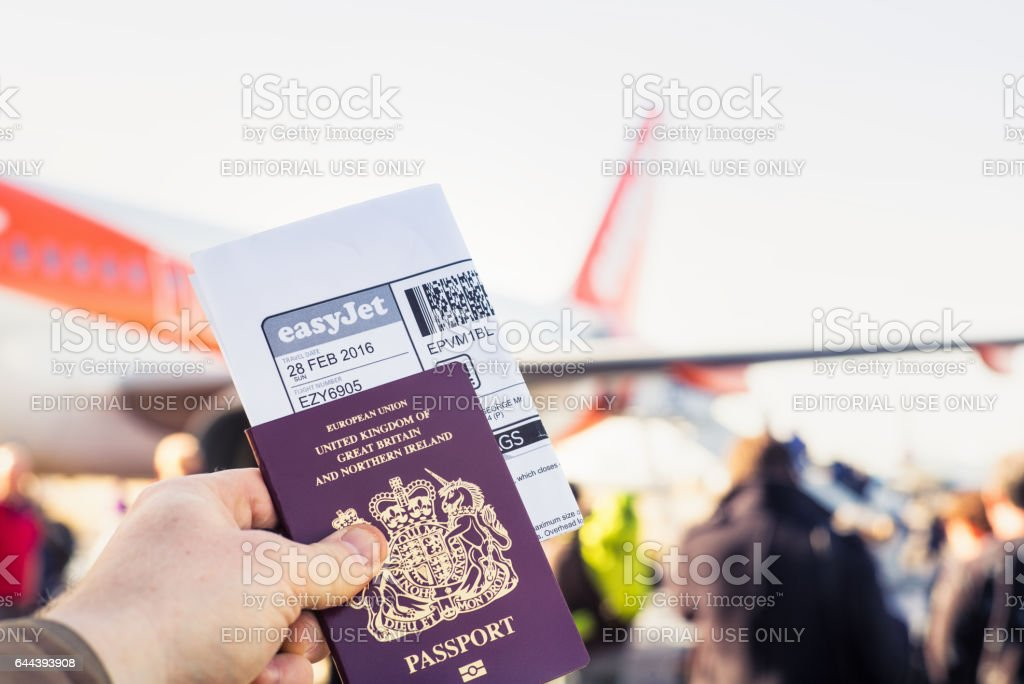 Boarding an easyJet budget flight stock photo