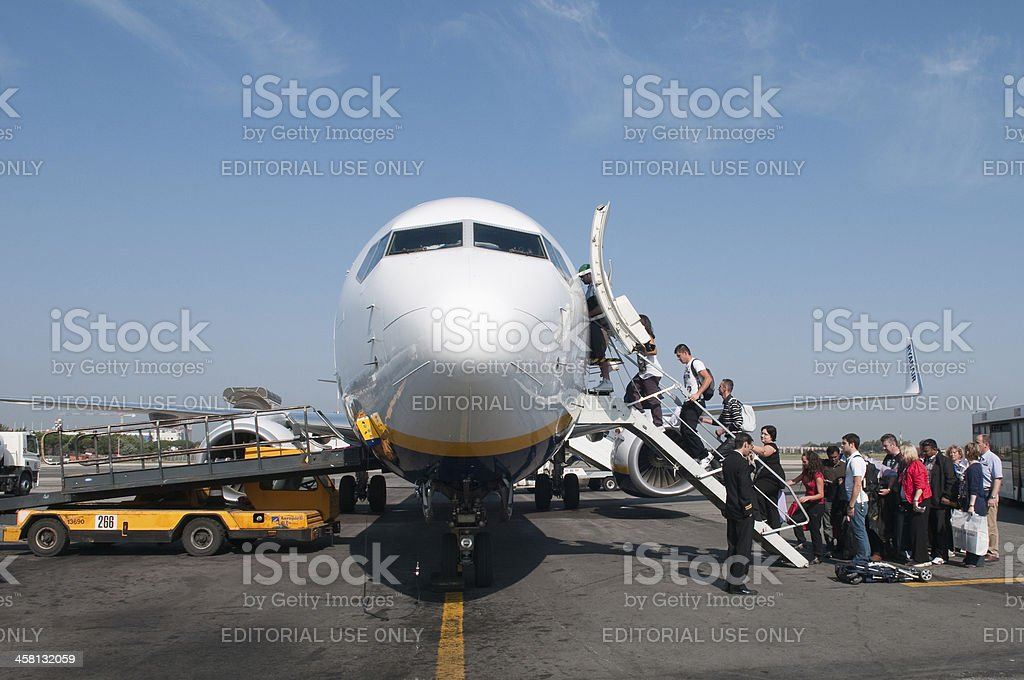 boarding commercial airplane royalty-free stock photo