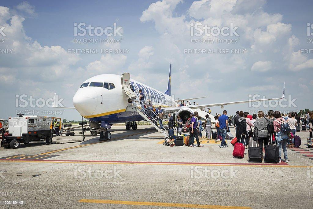 Boarding on Ryanair Jet airplane. stock photo