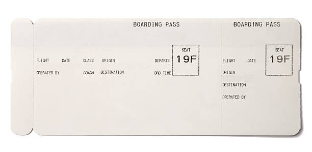 boarding pass - aeroplane ticket stock photos and pictures
