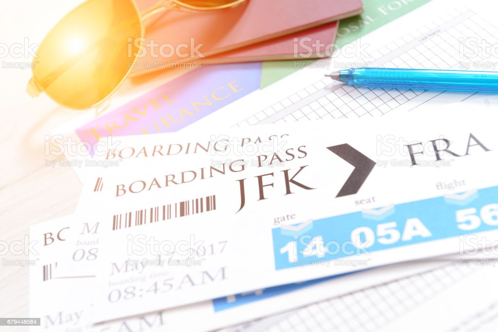 Boarding pass tickets and accesories stock photo