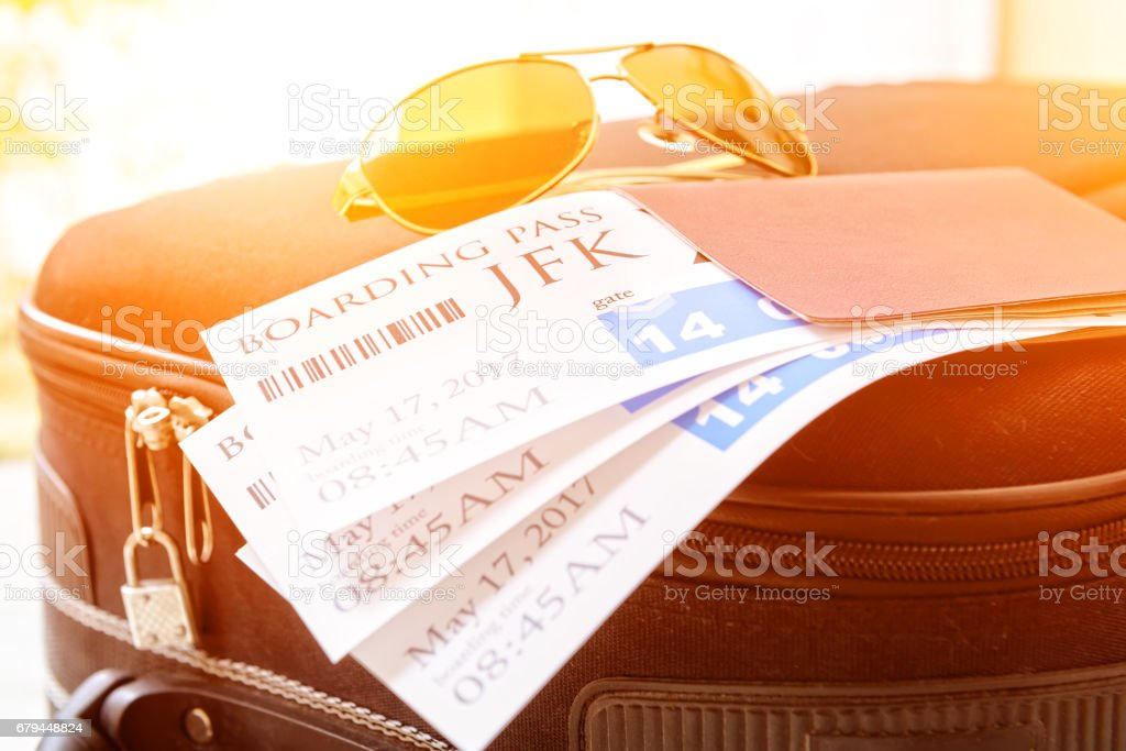 Boarding pass tickets and luggage stock photo