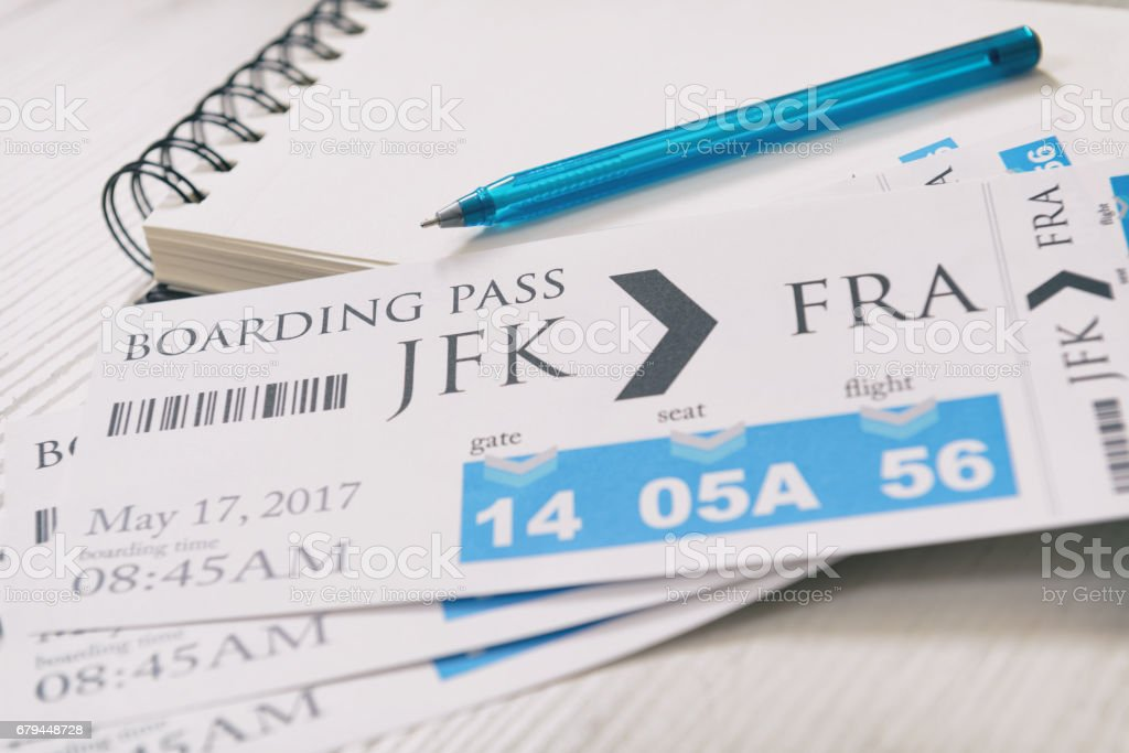 Boarding pass tickets stock photo