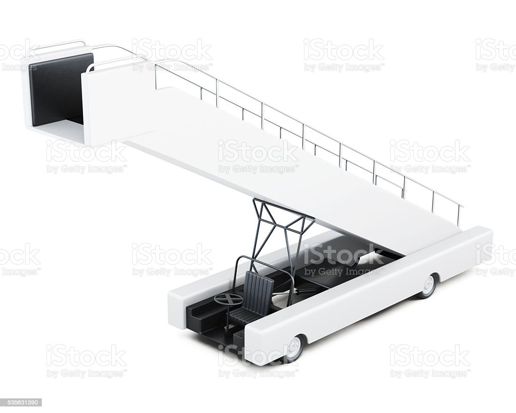 Boarding ramp isolated on a white background. 3d rendering stock photo