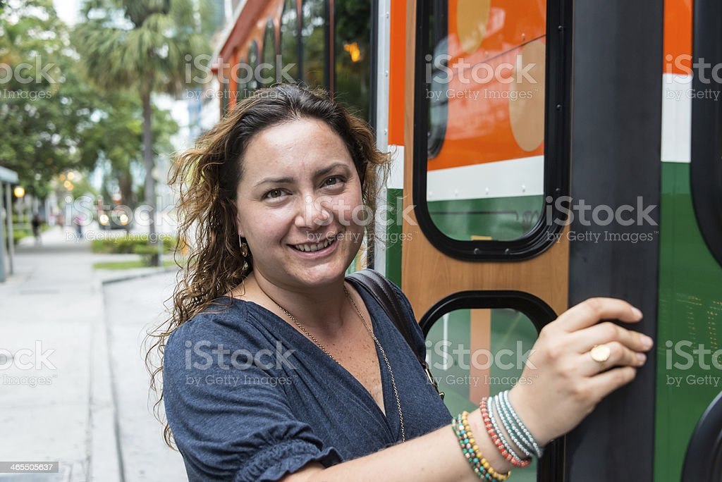Boarding the bus royalty-free stock photo