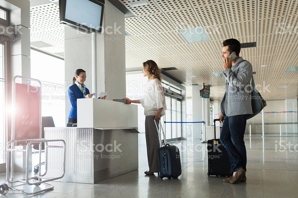 Boarding the plane, departure lounge. stock photo