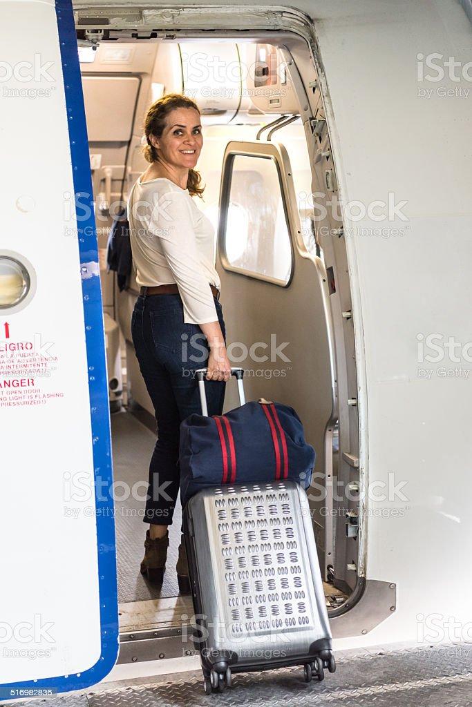 Boarding the plane stock photo