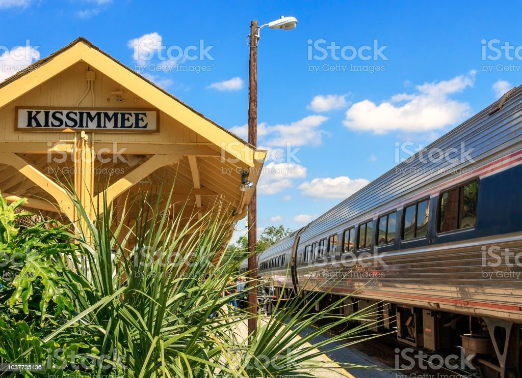 Boarding the Train at Kissimmee station stock photo