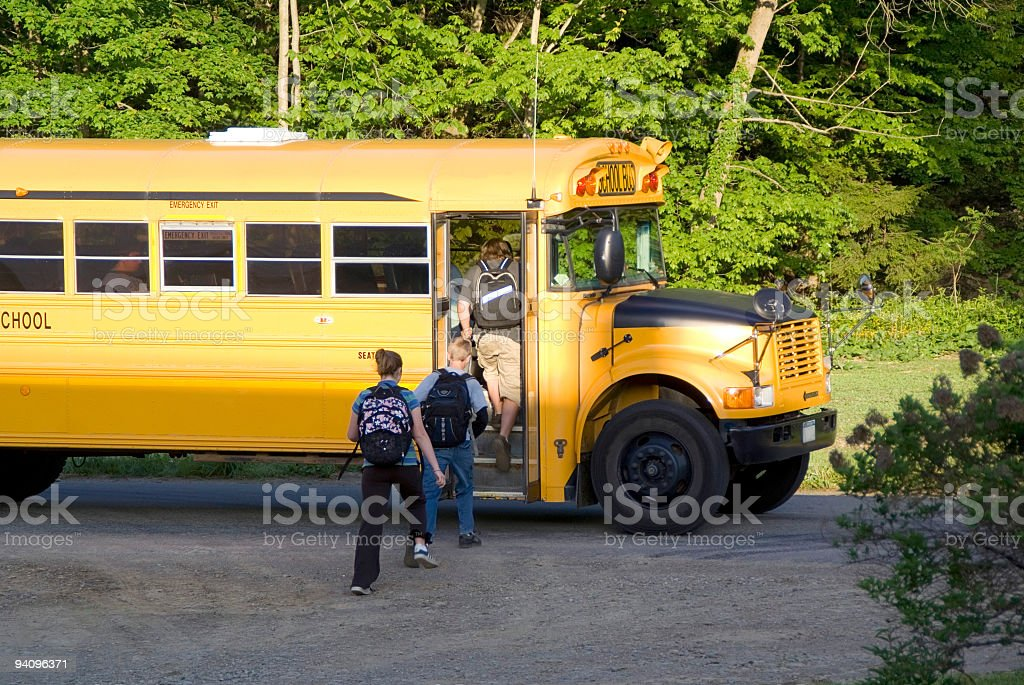 Boarding to School Bus royalty-free stock photo