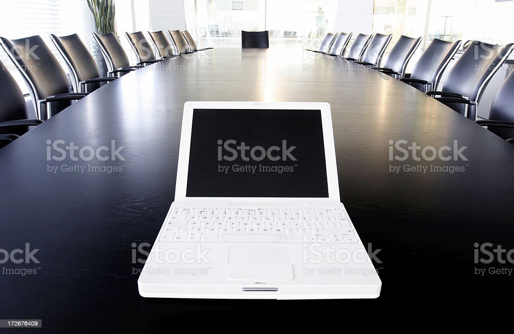 Boardroom laptop royalty-free stock photo