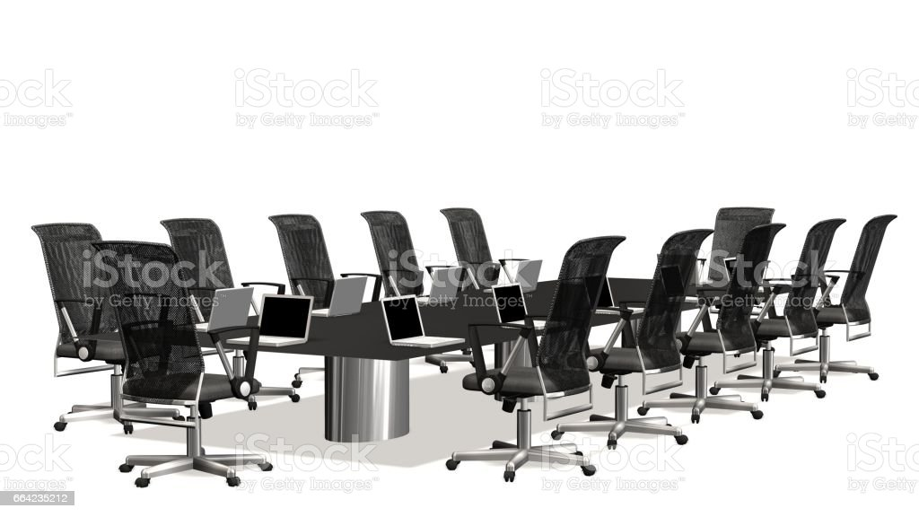 Boardroom Meeting Room And Conference Table With Office Chairs