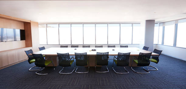 Boardroom Of Modern Office With No People Boardroom Of Modern Office With No People letterbox format stock pictures, royalty-free photos & images