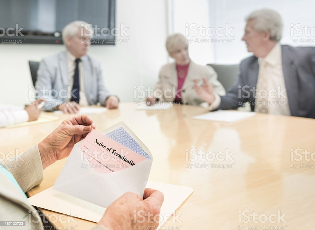 Boardroom Pink Slip stock photo