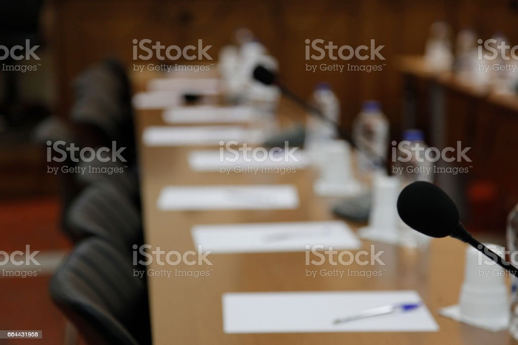 boardroom ready for meeting stock photo