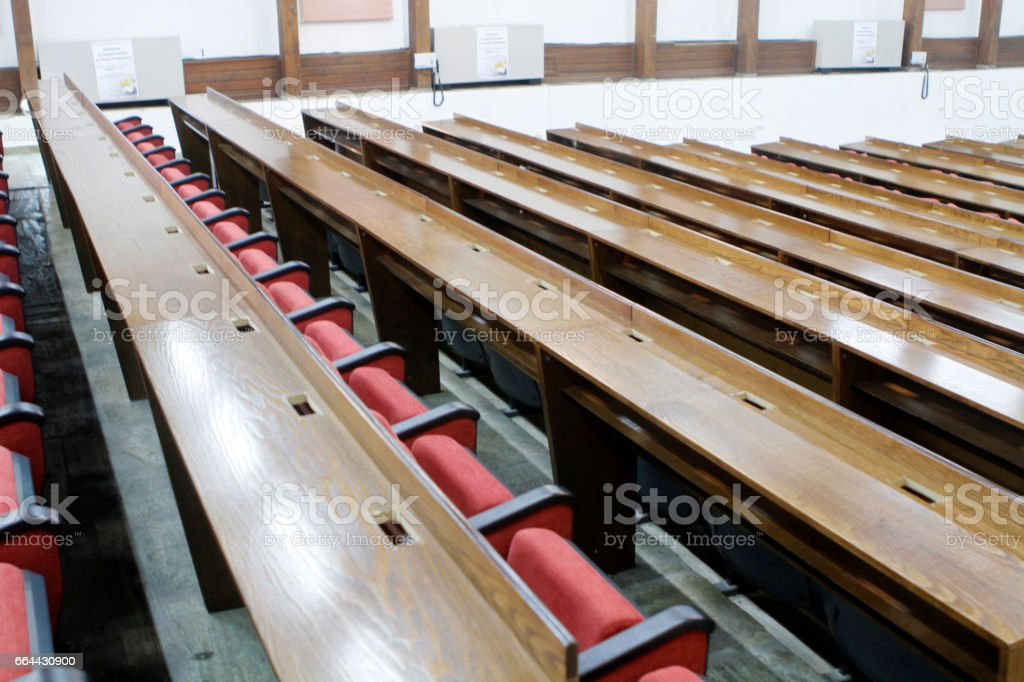 boardroom with red chairs stock photo