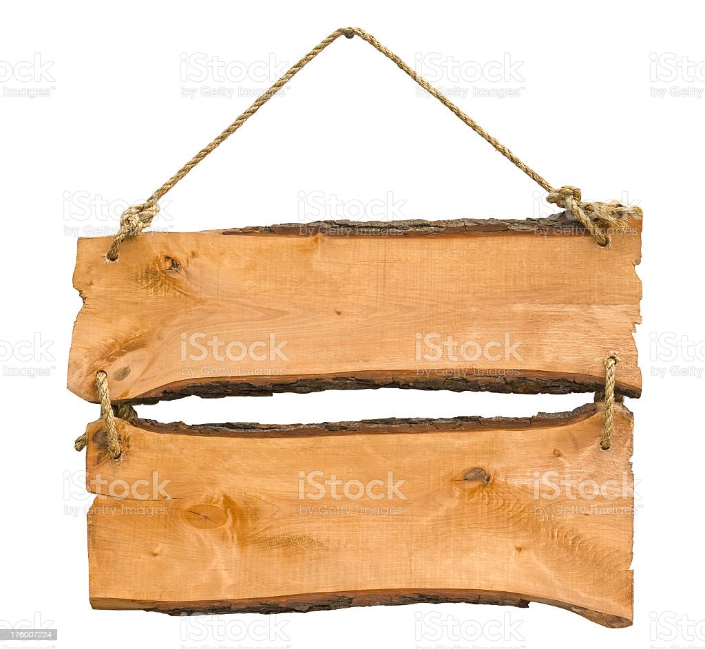 Boards of the old wooden planks hanging rope royalty-free stock photo