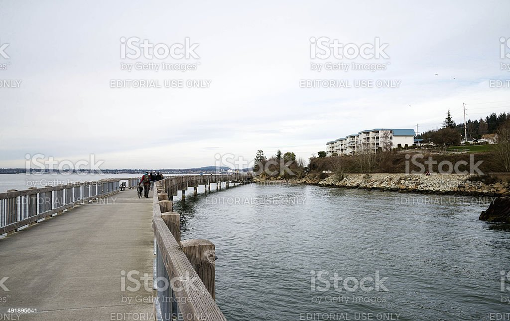 Boardwalk at Bellingham, Washington stock photo