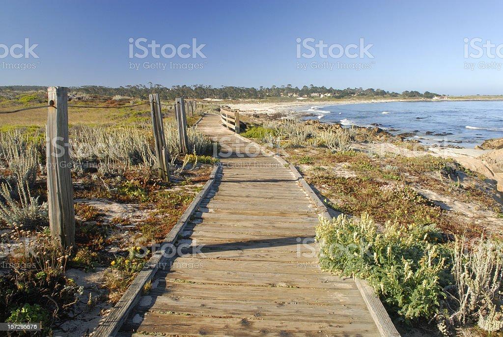 Boardwalk at Spanish Bay of Monterey in California stock photo