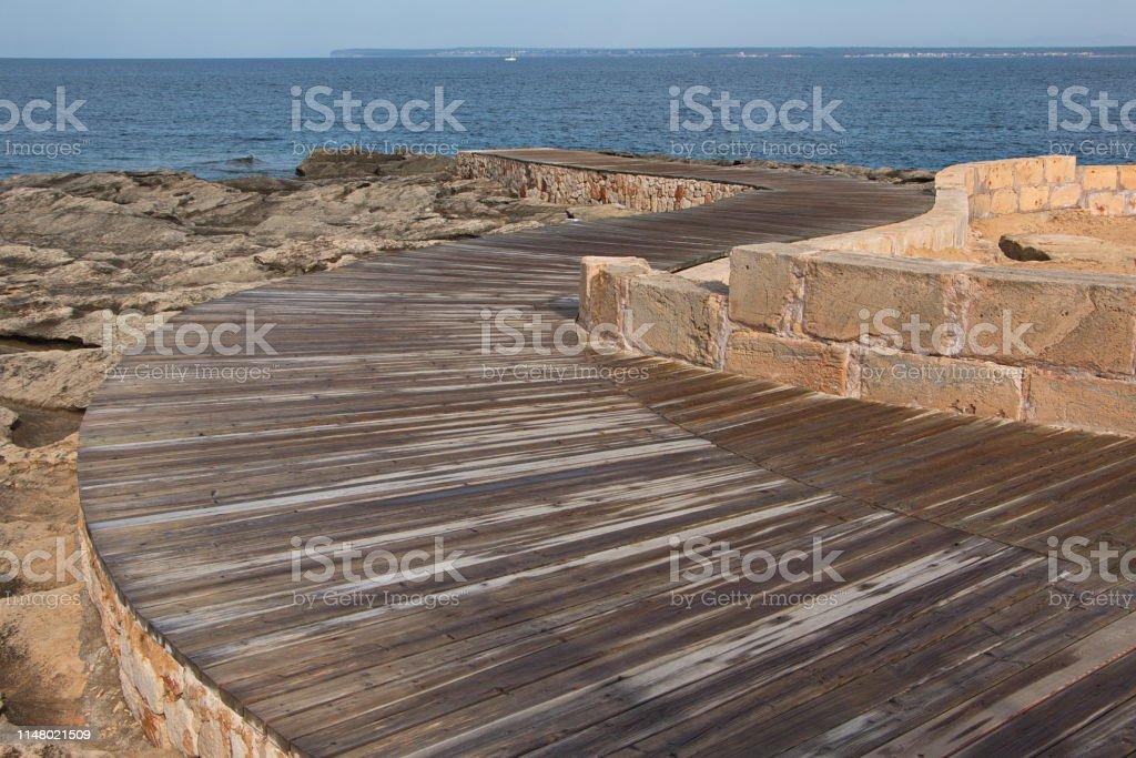 Boardwalk At The Hotels In Colonia Sant Jordi On Mallorca Stock